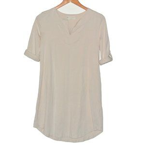 Synergy Organic Cotton Roll Sleeves Cream Dress XS
